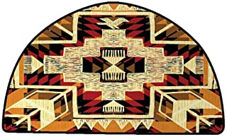 Thin Non-Slip Kitchen Bathroom Carpet Colorful Arrow,Native American Inspired Retro Aztec Pattern Mod Graphic Design Boho Chic Art,Red Orange Yellow,W24 x L16 Half Round Rugs for Outside