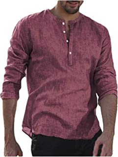 SportsXX Men's Oversized Long-Sleeve Pure Color Buttoned Casual Leisure T-shirts