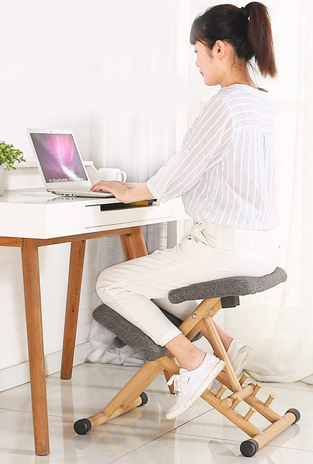 Meet World Chaise Ergonomique Assis Genoux, Chaises De Bureau Ergonomiques Chaise D'ordinateur Corrective Posture Posture Réglable Anti-Myopia Chair,3 2