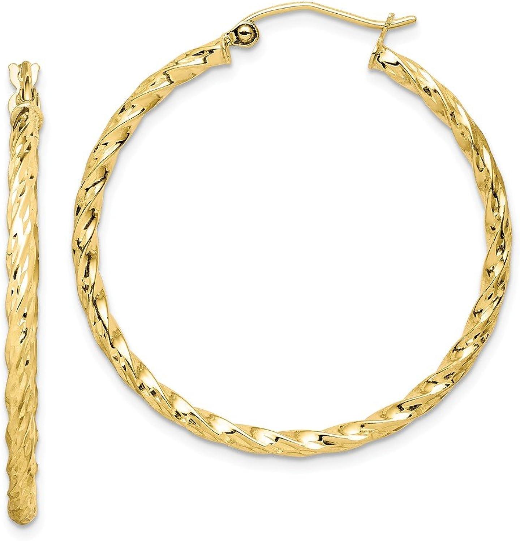 Beautiful Yellow gold 10K Yellowgold 10K Twisted Diamond Cut 35mm Hoop Earrings
