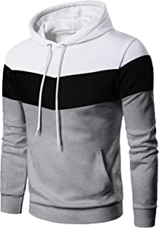 EKLENTSON Mens Sweatshirt Casual Stripe Color Sports Hoodies Pullover Outwear