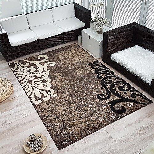 Moderner Design Kurzflor Teppich Ornamento, Größe:120x170 cm, Farbe:braun/beige