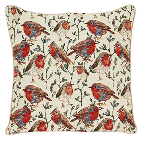 Signare Tapestry Cushion Cover 18 x18 inches 45cm x 45cm Decorative Sofa Cushions with Bird Design (Robin, CCOV-ROB)