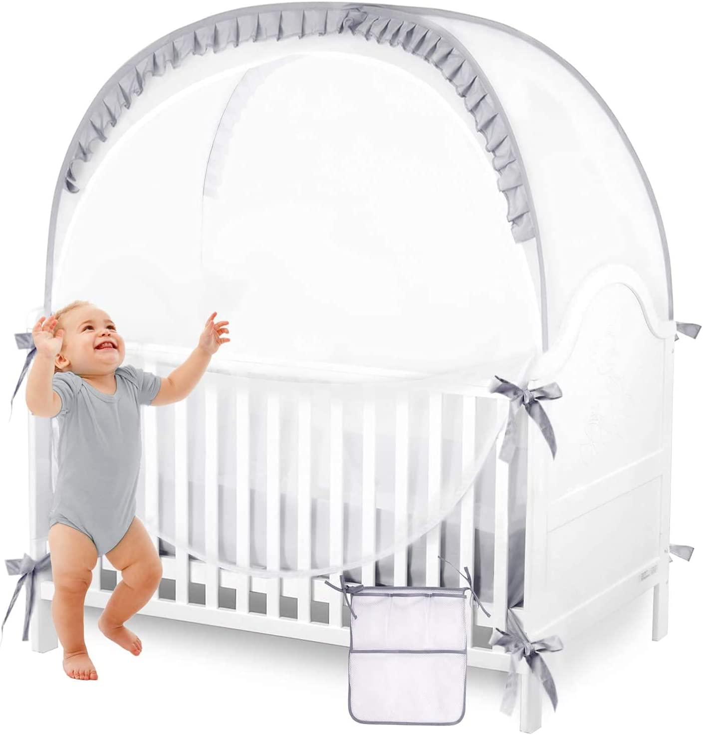 ZXPLO Baby Safety Crib Tent Infant Pop up Mosquito Net Nursery Bed Canopy Netting Cover - Keep Baby from Climbing Out with Hanging Diaper Storage Bag (Gray)