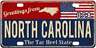 InterestPrint Greetings from North Carolina Rusty Metal Sign with USA Flag Metal License Plate Tag Sign Decor for Car Woman Man - 12