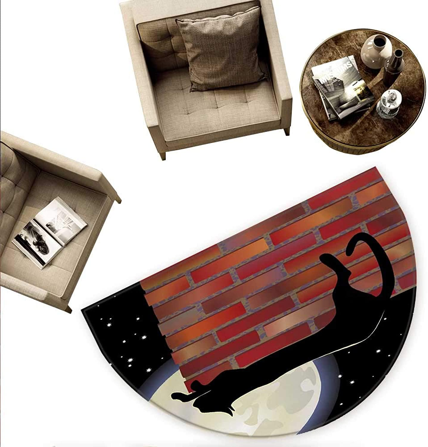 Moon Semicircular Cushion Cat Silhouette Resting on a Brick Wall in a Starry Night Full Moon Imagery Entry Door Mat H 70.8  xD 106.3  Black Ivory Vermilion