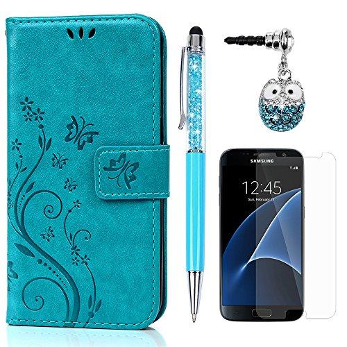S7 Hülle Case KASOS Handyhülle Brieftasche Book Type PU Leder Tasche Gemalt Magnetverschluss Ledertasche Cover,Blume-Schmetterling Blau + Stöpsel + Stylus + Schutzfolie für Samsung Galaxy S7