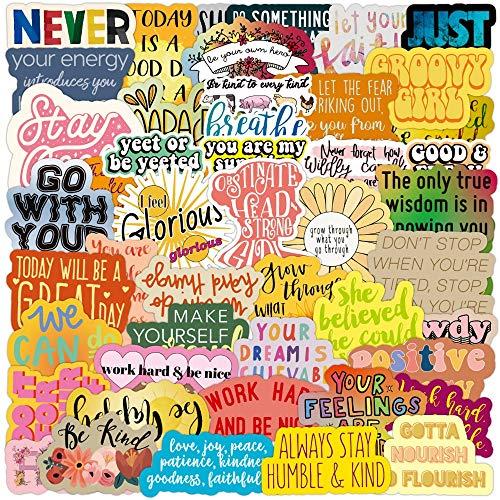 PMSMT 10/30/50/100 pcs Frases motivacionales Adhesivos Citas Impermeable d Frases a Prueba de Agua para teléfono Oficina portátil Sala de Estudio Graffiti calcomanía Juguete