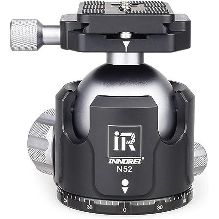 "INNOREL 自由雲台 ボール雲台 微動雲台 Nシリーズ 低重心 耐荷重最大30kg ボールヘッド直径 52mm 強化 CNC アルミ合金 三脚 一脚 一眼レフ 撮影 DSLR ビデオカメラ用 360度回転 パノラマ 3/8""ネジ 1/4""ネジ クイックシュー 取付 強化版 (N52)"