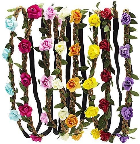 HBF 8 stk Blumenkranz mehrfarbig Blume Bohemia Style Kopfschmuck Haarbänder Stirnbänder Floral Girlande für Festival Hochzeit und Party (8 stk)