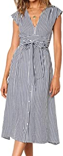 cdbc177fa50d INIBUD Midi Dress for Women Summer French Style Retro Striped Button Down  Tassels Bohemian V-