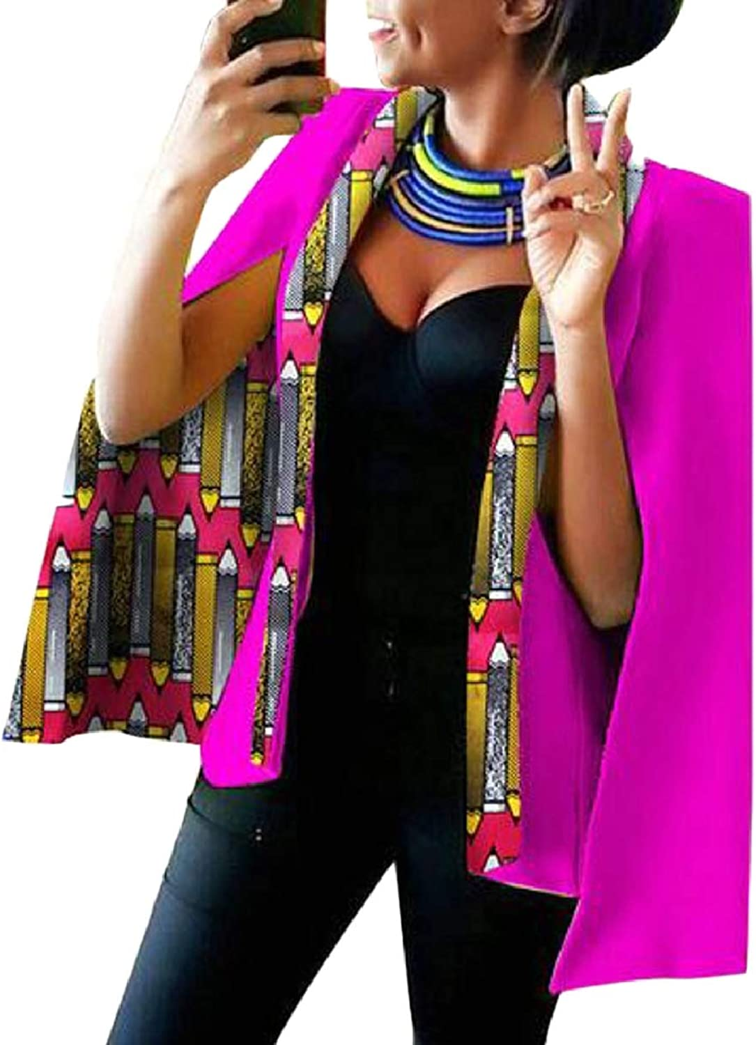 CBTLVSN Women Hip Hop Split Sleeve African Print Blazer Cape Cloak Jacket