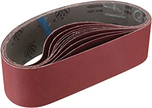 Miady 4-Inch x 36-Inch Aluminum Oxide Sanding Belts, 80/120/150/240/400 Assorted Grits, 10-Pack
