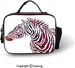 Animal Insulated Lunch Bag Ornamental Zebra Profile Silhouette Artistic Striped Safari Theme Artwork Soft Liner Lunch Bags,10.6x8.3x3.5 inch,Purple Pink Coral
