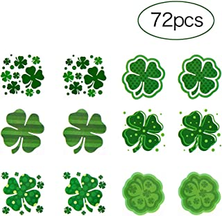 CCINEE Shamrock Patterned Tattoos Irish Clover Temporary Tattoo Stickers for St. Patrick's Day Accessories (6 Dozens)