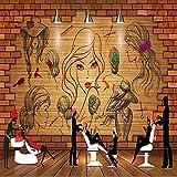 Papel Tapiz 3D Imagen Mural Restaurante Retro Europeo Ktv Bar Sofá Tv Pintura De Fondo Arte De La Pared Para Sala De Estar Sofá Fondo De Tv Decoración De La Pared Del Dormitorio 400(W) X280(H) Cm