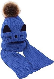 simhoa 2pcs/Set Winter Baby Cartoon Cute Caps Scarf Warm Wool Knitted - Blue