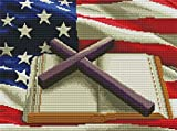 Cross Stitch Stamped Kits Cross-Stitching Accurate Bible for Adults Embroidery Starter Kits Beginners for DIY Embroidery Jesus Cross Cross Stitch Kits (American Flag)14.2×18.1Inch
