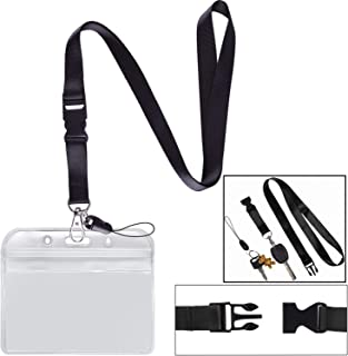 Lanyard with Badge Holder Black Neck Strap Detachable Buckle Breakaway Quick Release Safety Lanyard with Horizontal id Name Tag Card Holders Zipper Waterproof Resealable Clear Plastic Pack of 1