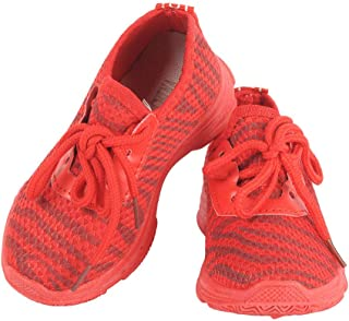 Hopscotch Yellow Bee Mesh Mesh Lace Up Shoes for Boys - Red