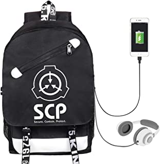 SCP Foundation USB Backpack School Bag Work Rucksack fits Laptop for Boys Girls Mens and Women