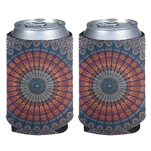 chaqlin Mandala patrón delgado de energía para bebidas latas de cerveza mangas titular de botella cubierta enfriador 2 paquetes perfecto para 12 oz, café hielo, bebida energética, cerveza