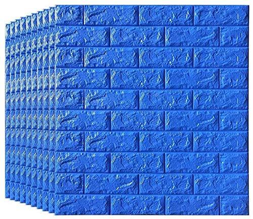 KUNYI 3D-Wand-Aufkleber Tapete, schälen und Stick 3D Wandpaneele for Innen Wand-Dekor-Blau Brick Wallpaper (Color : 10 Piece)