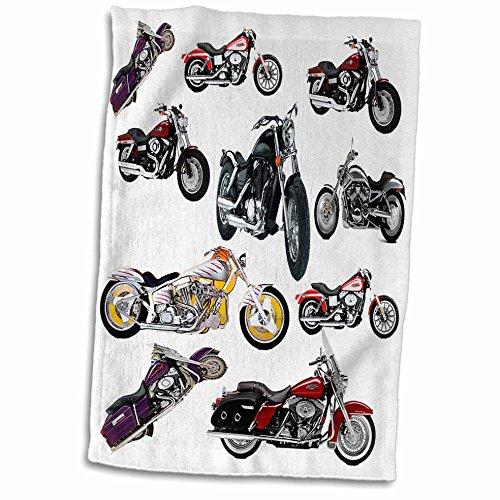 3D Rose Picturing Harley Davidson174 Motorcycles Towel