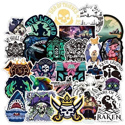 YLGG 100 pieces the sea of Thieves waterproof graffiti stickers for laptops, skateboards, suitcases, helmets, mobile phones, motorcycles,etc