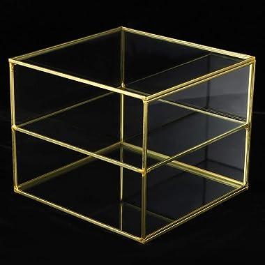 Mxzzand Golden Glass Keepsake Box, Golden Glass Desktop Decoration Exquisite Craftsmanship and Elegant Shape 2‑Compartment De