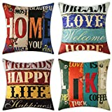 Woaboy Set of 4 Cotten Linen Pillow Cover Colorful Letters Printed Pillowcase Square Decorative Cushion Cover Soft for Car Sofa Bed Couch Living Room Outdoor 18 x 18Inch 45 x 45cm