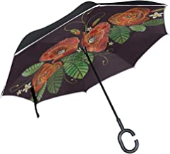 Reverse Umbrella Poppy Flowers Leaf Embroidery Windproof Double Layer Inverted Umbrella Anti-UV Protection with C-Shaped Handle for Car Outdoor Use