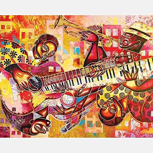 Schilderen op cijfers, knutselset voor volwassenen, kinderen, beginners van de gitaar, saxofoon 40 x 50 cm (zonder lijst).