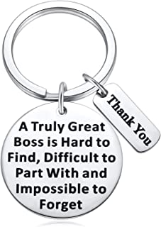 Boss Appreciation Keychain Gifts from Staffs, A Truly Great Boss Is Hard to Find Keychain, 2pc Thank You Key-ring for Retirement Coworker Colleague Men, Boss Day Present