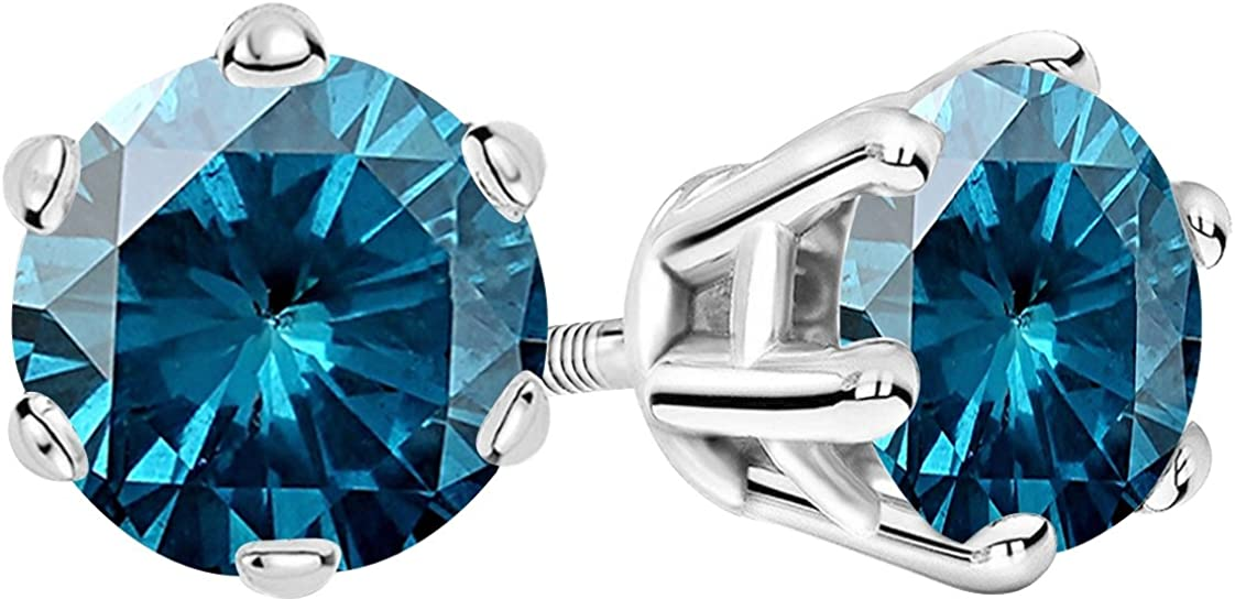 1 2-10 Carat Total Direct stock discount Weight Price reduction Blue Prong Scr Stud 6 Diamond Earrings