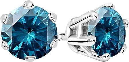 1/2-10 Carat Total Weight Blue Diamond Stud Earrings 6 Prong Screw Back