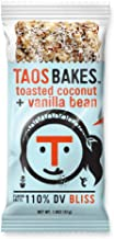 Taos Bakes Energy Bars - Toasted Coconut + Vanilla Bean (Box of 12, 1.8oz Bakes) - Gluten-Free, Non-GMO, Healthy Snack Bars