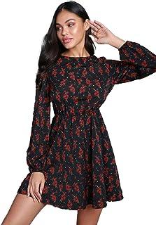فستان للنساء باكمام منتفخة، مزين بالزهور بتصميم يتسع نحو الاسفل بشكل حرف ايه