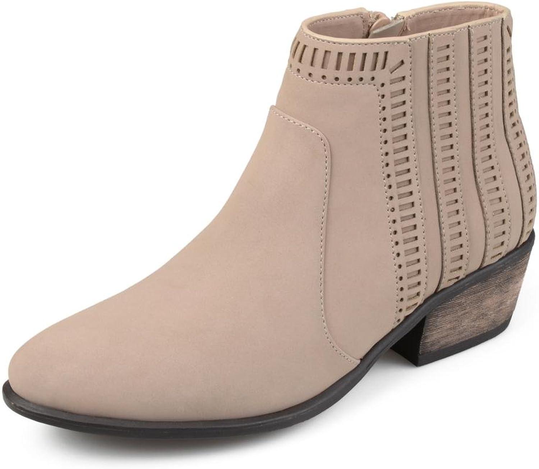 Brinley Co. Womens Nola Faux Nubuck Geometric Cut-Out Almond Toe Booties
