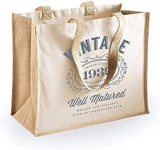 80th Birthday 1939 Keepsake Gift Bag for Women Novelty Shopping Tote Bag