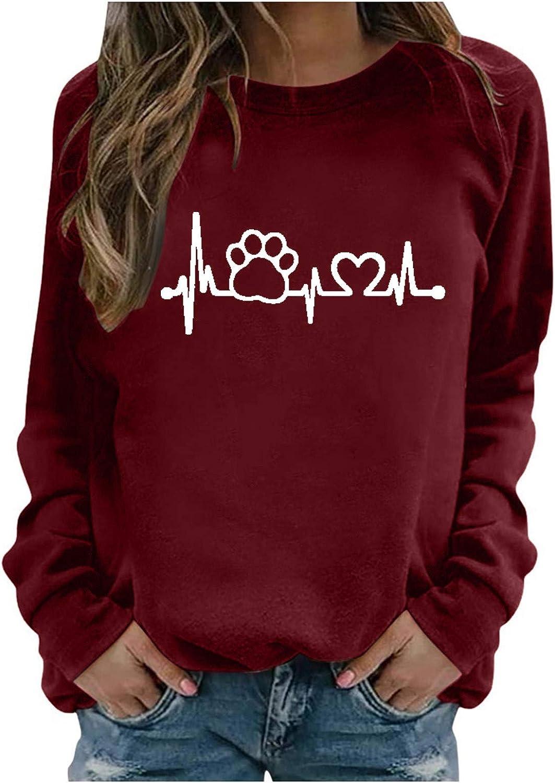 Aniwood Women's Teen Girls Dog Paw Print Long Sleeve Crewneck Casual Loose Sweatshirts for Women Hooded Top Blouse