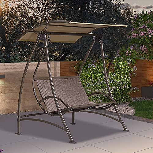 PURPLE LEAF Porch Patio Swing with Canopy, 2...