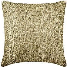 Decorative Cushion Covers 30 x 30 cm Gold, Cotton Throw Pillow Cushion Covers, Handmade Cushion Covers, Striped Cushion Co...
