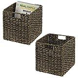 mDesign Juego de 2 cajas de almacenaje – Cajas organizadoras plegables hechas...