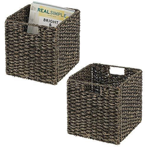 mDesign Juego de 2 cajas de almacenaje – Cajas organizadoras plegables hechas de junco marino – Cestas de almacenaje con patrón trenzado – Ideales para estanterías cuadradas – negro