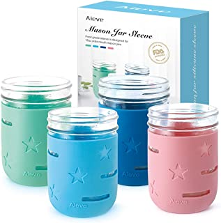 Mason Jar Sleeve,4 Pack Aieve Mason Jar Silicone Sleeve Protector Anti-slip Canning Sleeve Set for 16oz Wide Mouth Mason Jars Canning Jars Ball Jars to Prevent Slipping (Jars not Included)