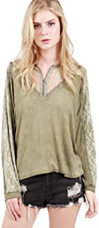 Stonewash Long Sleeve top with lace Panel and Front Zipper