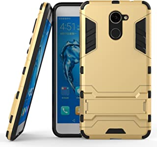 DWaybox 2 in 1 Heavy Duty Armor Hard Back Case with Kickstand Compatible with Huawei Ascend XT2 H1711/HUAWEI Y7 2017/Elate 4G LTE/Huawei Enjoy 7 Plus/Y7 Prime 2017 5.5 Inch (Gold)