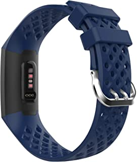 MoKo Band for Fitbit Charge 3, Soft Silicone Adjustable Replacement Sport Strap with Multihole Fit Fitbit Charge 3 Heart Rate + Fitness Wristband - Navy Blue