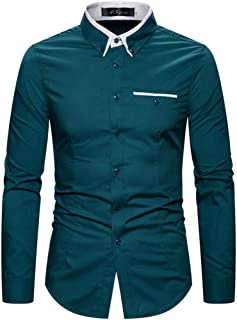 SPE969 Men's Button Down Long Sleeve Shirts, 5 Colors M~5XL Cool Business Pure Turn-Down Collar Tops